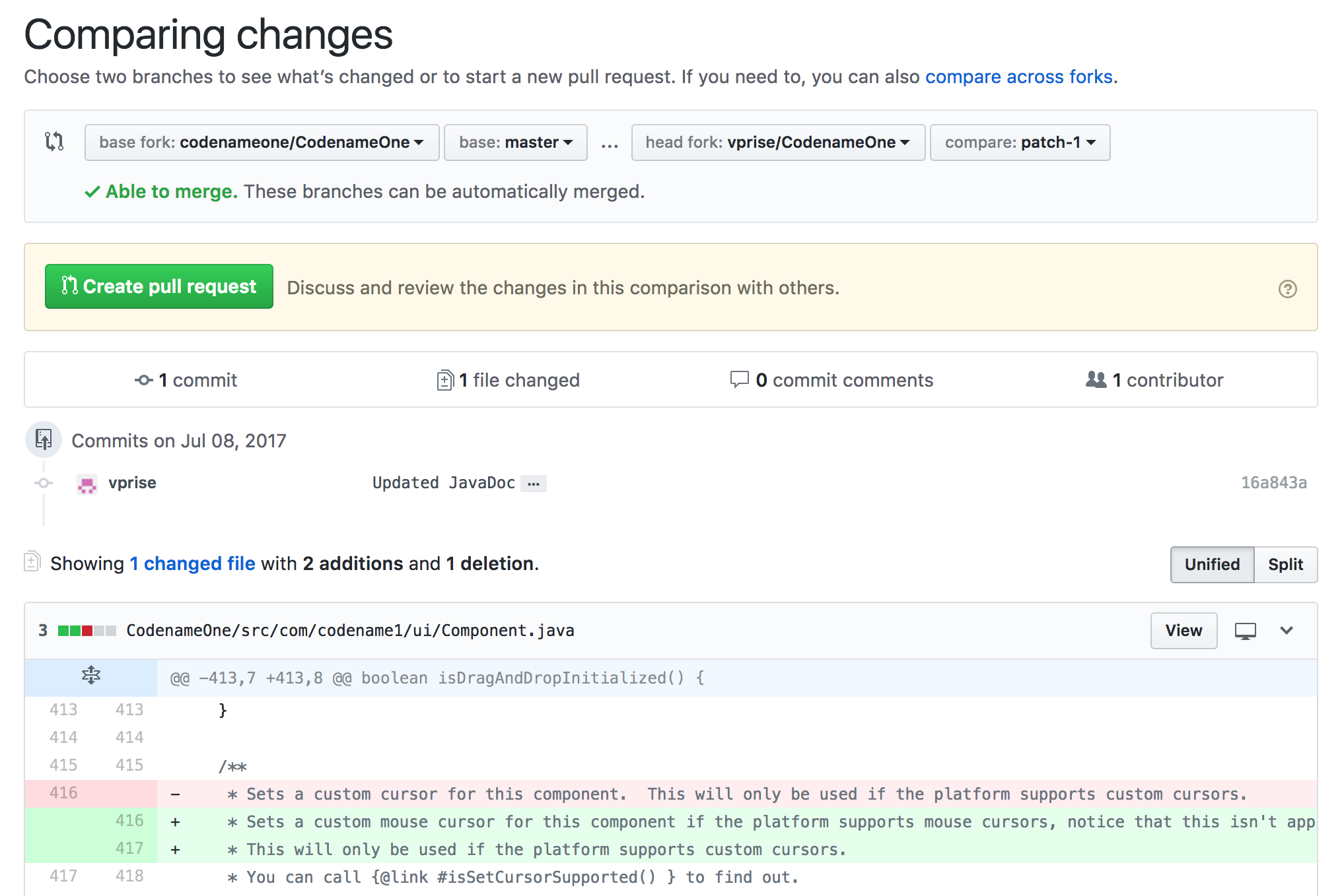 First stage of pull request you are prompted with the diff of the change you made