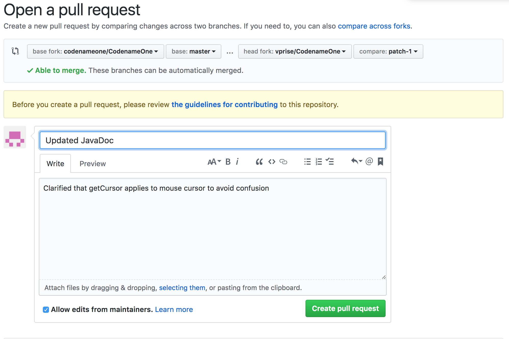 Second stage of pull request you can edit the submit comment