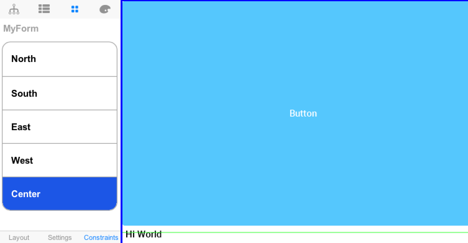Border layout constraints