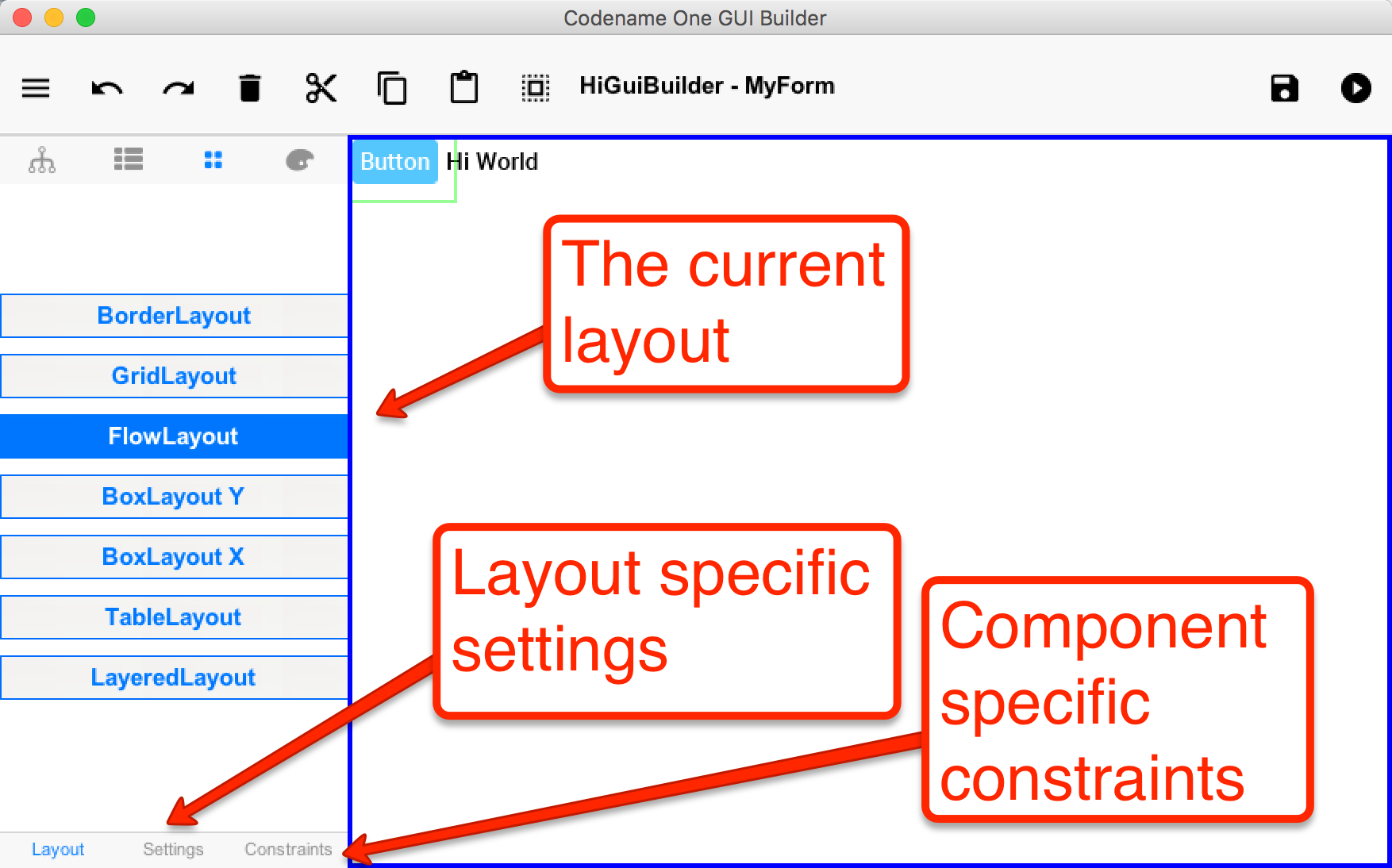 Layouts can be picked via the GUI builder UI