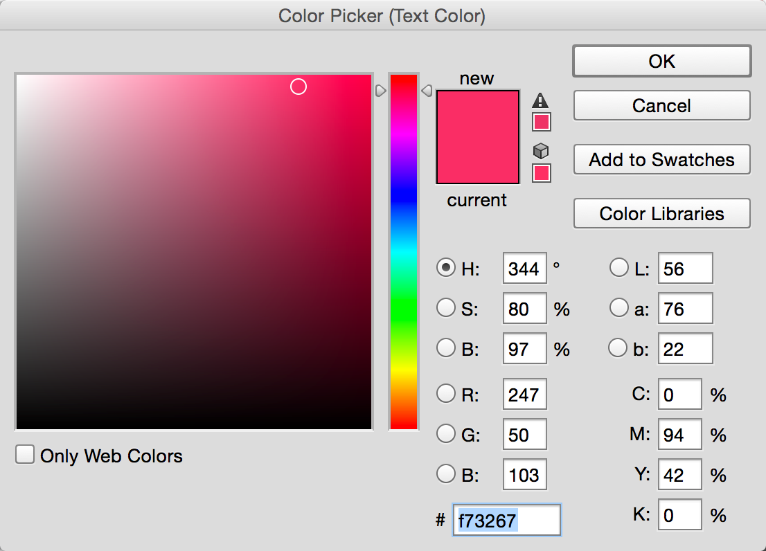 The color dialog lists the hex color at the bottom