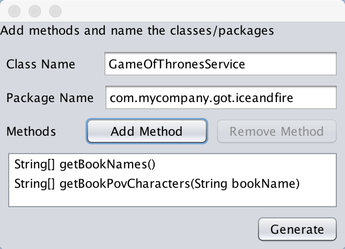 Set the package and class name for the webservice abstraction (notice this isn't your main class name) and then add the methods you want in the webservice