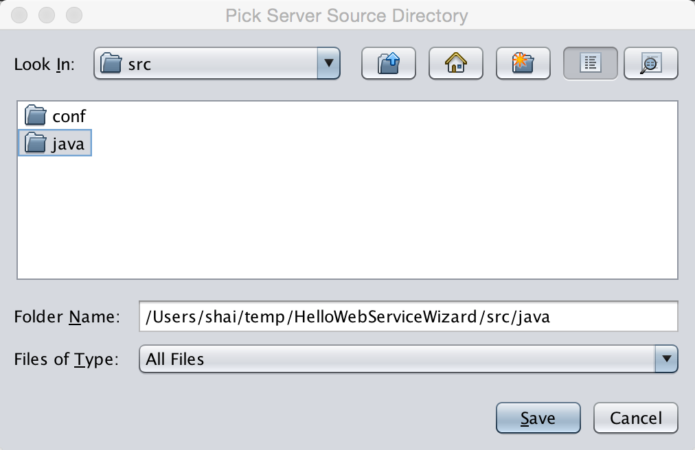 Pick the directory in the server project to which the source files will be generated by default this is the src/java directory under the project we created in the first step