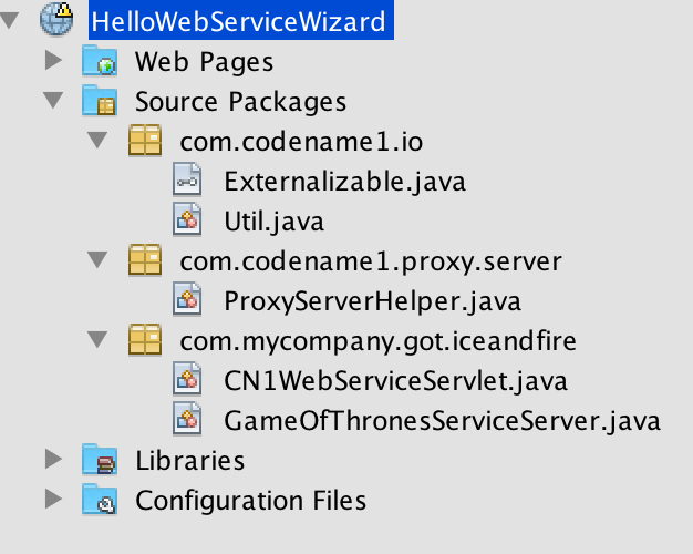 If you saved to the right location the server project directory should look like this